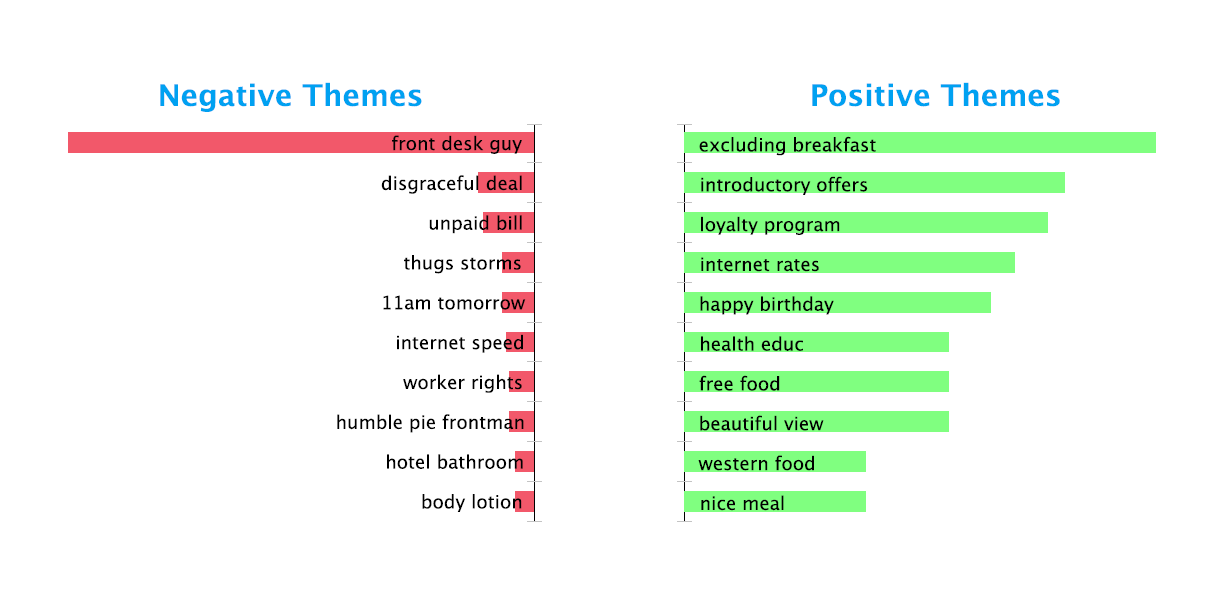 Positive and Negative Topics - Hospitality Social Media Analysis